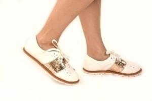 Tênis Branco / Glitter Dourado