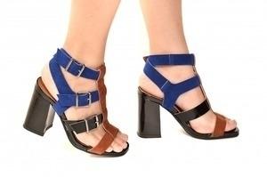 Sandália 4 Tiras Preta/Azul/Marrom
