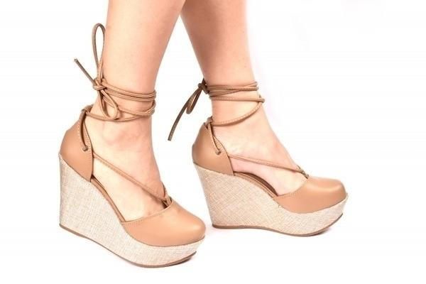 22a0e14099 Sapato Anabela Laço Tornozelo Bege - Sizes  30 - 31 - 32 - 33 ...