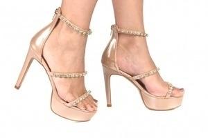 Sandália 3 Tiras Strass Nude Premium