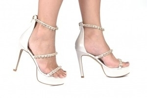 Sandália 3 Tiras Strass Branca Premium