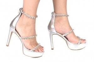 Sandália 3 Tiras Strass Prata Premium