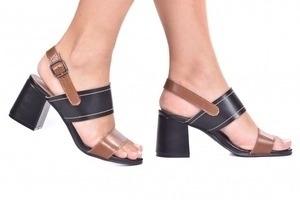 Sandália 2 Tiras Costura Preta/Marrom