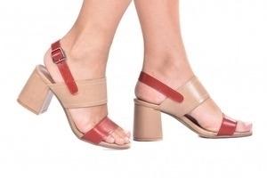 Sandália 2 Tiras Costura Bege/Vermelha