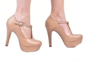 Sapato Mp Alta Tira Central Bege
