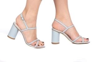 Sandália Azul Candy Salto Cilíndrico