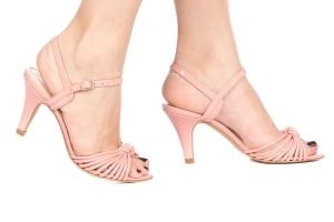 Sandália Nó Tiras Salto Baixo Rosa Candy