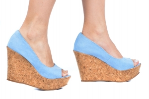 Peep Toe Simples AB Azul Candy Suede