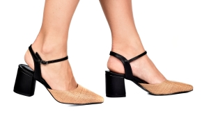 Sapato Rafia Bege/Preto