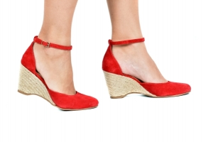 Espadrille Sapato Vermelho Camurça