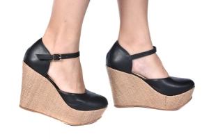 Sapato Anabela Aberto Preto/Palha