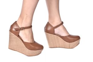 Sapato Anabela Aberto Caramelo/Palha