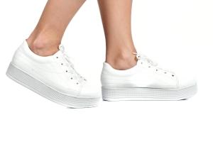 Tênis Flatform Costura Branco