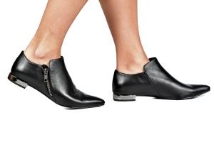 Ankle Boot Saltinho Cromado Couro Preta Premium