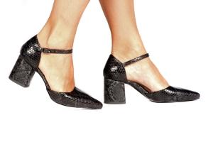 Sapato Aberto Cobra Preto Médio