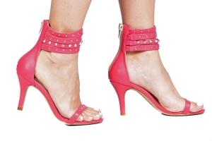 Sandália Tiras Spikes Pink