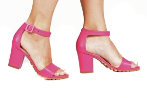 Sandália Tratorada Couro Pink Premium