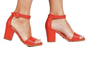 Sandália Tratorada Couro Vermelho Premium