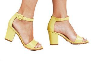 Sandália Tratorada Couro Amarelo Premium