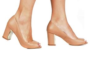Peep Toe Couro Bege / Cromado Premium