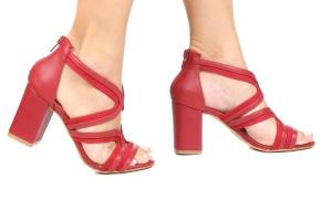 Sandália Ondas Vermelha Salto Grosso