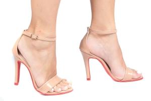 Sandália Gisele Alta Vz. Nude/Sola Vermelha