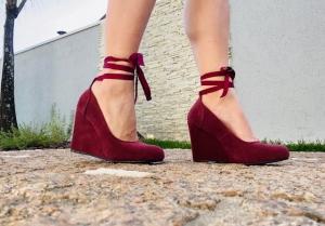 Sapato AB Médio Bordô Fita