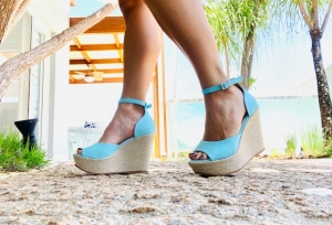 Sandália Anabela Class Azul