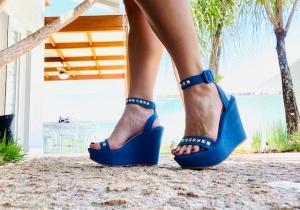 Sandália Anabela Pirâmide Azul
