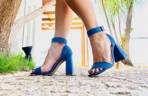 Sandália Simples SG Camurça Azul