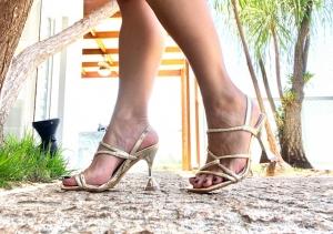 Sandália Ouro Salto Taça