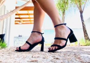 Sandália 2 Tiras Camurça Preta