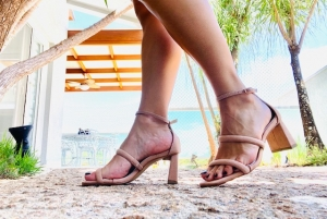 Sandália 2 Tiras Camurça Nude
