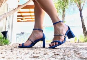 Sandália 2 Tiras Camurça Azul