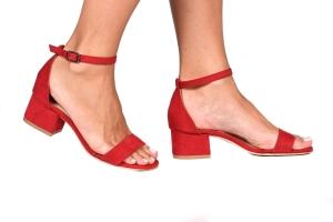 Sandália Baixa Camurça Vermelha Básica Simple