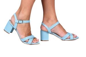 Sandália Block 2 Tiras Azul Claro