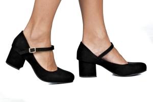 Sapato Baixo Boneca Camurça Preta