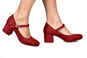 Sapato Baixo Boneca Camurça Vermelha