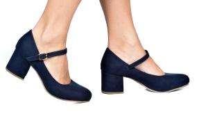 Sapato Baixo Boneca Camurça Marinho