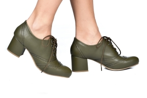 Sapato Oxford Laser Verde Militar