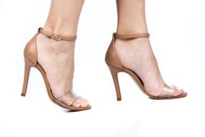 Sandália Gisele Alta Acrílico/Nude Premium