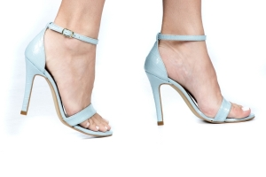 Sandália Gisele Alta Croco Azul Premium