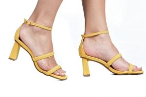 Sandália 2 Tiras Camurça Amarela