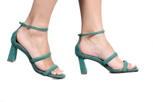 Sandália 2 Tiras Camurça Verde